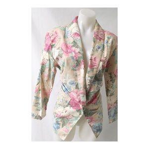 Pink Flower  Vintage Blazer Size M